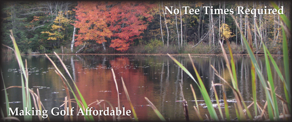 Pond with autumn trees | Making Golf Affordable | No Tee Times Required