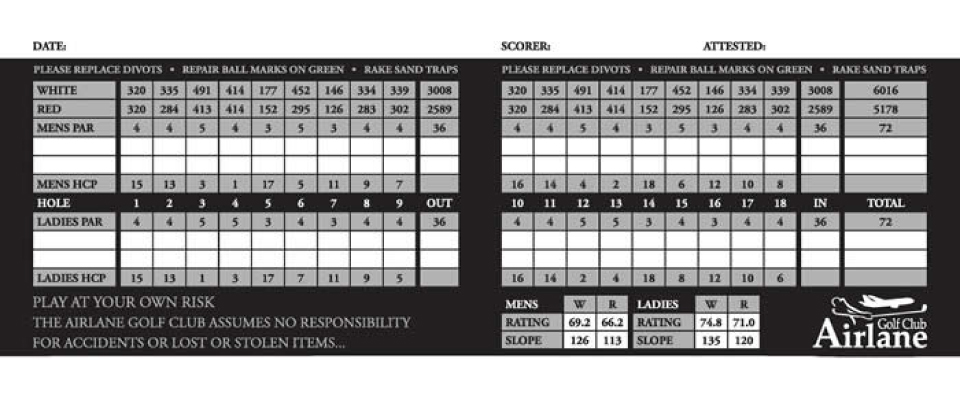 Airlane Golf Club Score Card